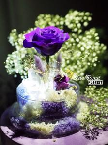 保鮮•愛系列  *發光玻璃罩玫瑰保鮮花(紫色)*可免費刻上名或祝福字句