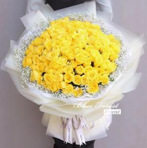 99枝黃玫瑰花束