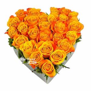心形橙色玫瑰花盒28枝裝(可改其他色玫瑰)