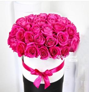 36枝桃紅玫瑰花盒