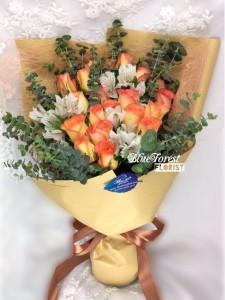 小露寶*金橙玫瑰配小百合花束10枝裝
