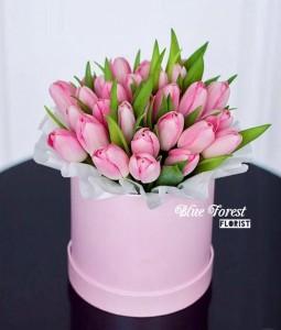 30枝荷蘭粉紅鬱金香花盒
