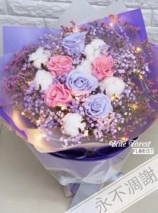 保鮮•愛*永不凋謝玫瑰保鮮花花束(淺紫色拼粉紅色)