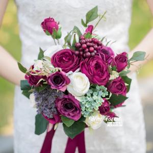 紫紅色玫瑰花球(仿真花)