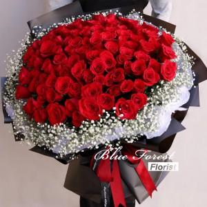 愛你*108枝紅玫瑰滿天星花束