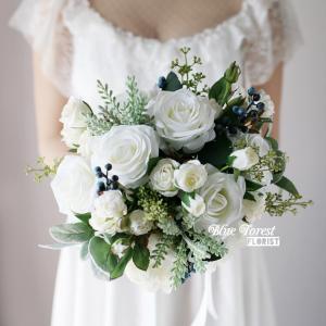 純白玫瑰花花球(仿真花)