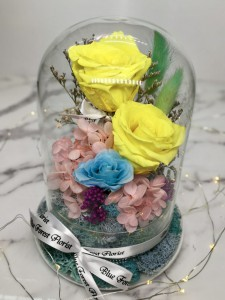 保鮮•愛 *發光玻璃罩玫瑰保鮮花(黃色)*可免費刻上名或祝福字句