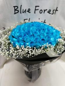 海藍玫瑰99枝玫瑰花束