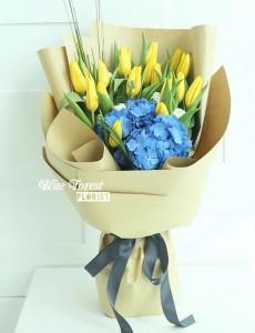 荷蘭鬱金香配繡球花束