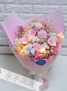 保鮮•愛*永不凋謝玫瑰保鮮花花束(粉紅色)