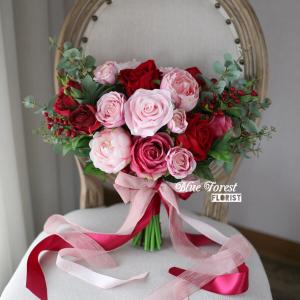 紅粉玫瑰花球(仿真花)