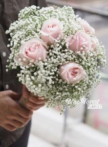 韓式滿天星淺粉紅玫瑰花球