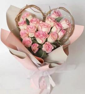 網紅推介*18枝心形雙色粉紅玫瑰花束*