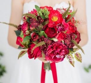 棗紅色牡丹配玫瑰花球(仿真花)