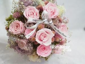 日本淺粉紅玫瑰保鮮花花球