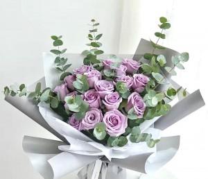 薰衣草色肯亞淺紫玫瑰花束(18支裝)