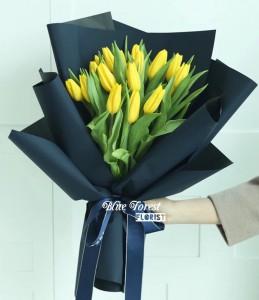 荷蘭黃色鬱金香花束