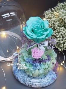 *保鮮•愛系列 *發光玻璃罩玫瑰保鮮花(Tiffany blue色)*可免費刻上名或祝福字句