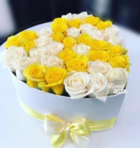 心形黃/白玫瑰花盒