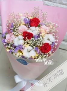 保鮮•愛*永不凋謝玫瑰保鮮花花束(紅色拼粉紅色)