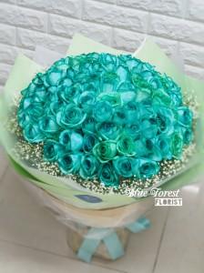 99枝荷蘭淺綠色玫瑰花束