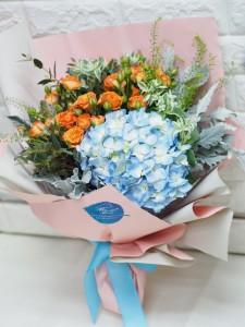 田園風格*鑽石玫瑰配荷蘭秀球花束