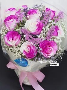 厄瓜多爾雙色玫瑰花束(深粉紅色)