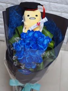 畢業花束*20枝旦黃哥荷蘭深藍玫瑰花束