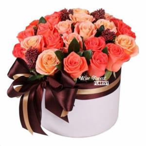 20枝橙色拼香檳玫瑰花盒