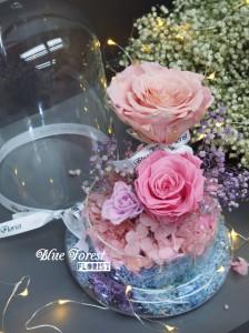 保鮮•愛系列 *發光玻璃罩玫瑰保鮮花(淺粉紅配深粉紅)*可免費刻上名或祝福字句*