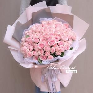 99枝樱花粉紅玫瑰花束*