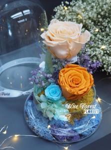 *保鮮•愛系列 *發光玻璃罩玫瑰保鮮花(香檳色配橙色)*可免費刻上名或祝福字句