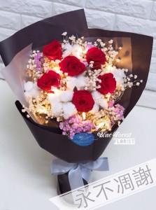 保鮮•愛*永不凋謝玫瑰保鮮花花束(紅色)