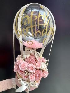 *告白氣球*香薰玫瑰花盒連生日氣球(可選鮮花玫瑰/仿真花香薰玫瑰)
