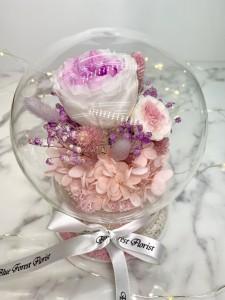 *幸福水晶球系列 *玻璃罩玫瑰保鮮花(淺粉紅Garden Rose)*可免費刻上名或祝福字句
