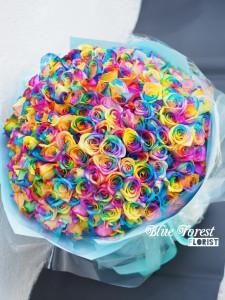 99枝荷蘭彩虹玫瑰花束