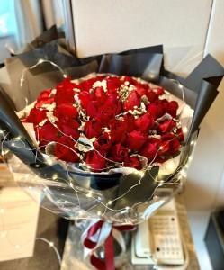50枝led星星燈紅玫瑰花束