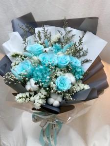 [特別之選]保鮮•愛*永不凋謝玫瑰保鮮花花束(Tiffany blue)