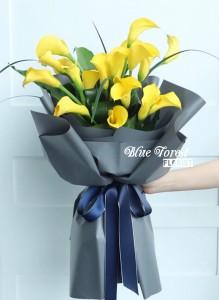 荷蘭黃色馬蹄蘭簡約花束