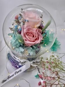 幸福水晶球系列 *玻璃罩玫瑰保鮮花(深淺粉紅)*可免費刻上名或祝福字句