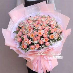 99枝香檳粉庭園玫瑰配滿天星花束