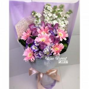 粉紫迷*紫玫瑰配粉太陽花束