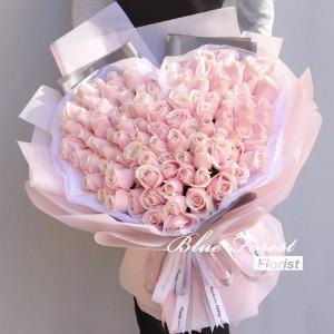 *99枝淺粉紅心形玫瑰花束