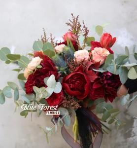 荷蘭棗紅色牡丹法式花球