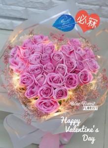 情人節系列  20/30枝心形粉紅色玫瑰LED燈花束
