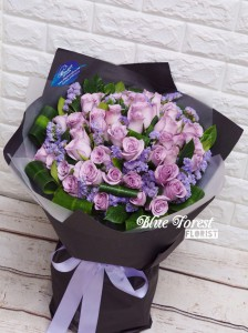 * * Lavender love*薰衣草色荷蘭淺紫玫瑰花束