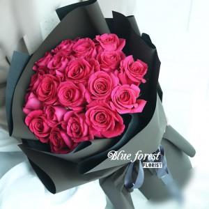 *桃紅玫瑰花束18枝装*