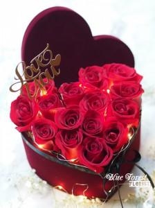 LED心形紅玫瑰花盒(附送Love插牌)