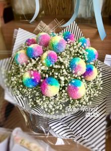 日本彩虹波波菊花束