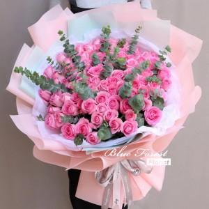 99枝桃紅玫瑰花束